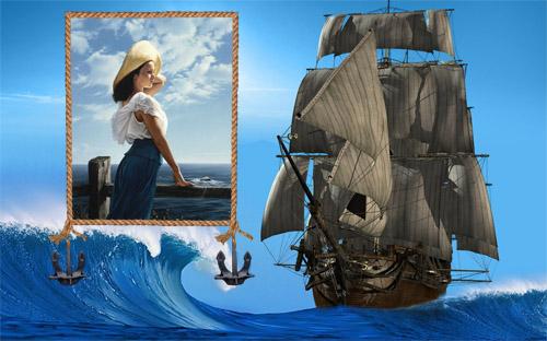 Рамка psd - Кораблик среди волн