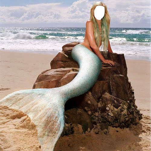 Шаблон для девушек - Русалка на берегу моря