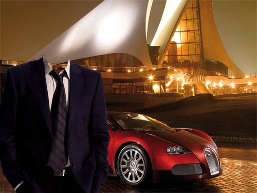 Шаблон psd - В костюме на фоне классного авто