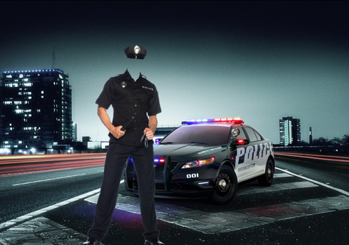 Шаблон psd мужской - В полицейской форме