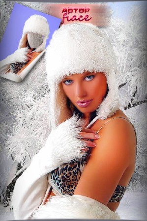 Шаблон для фотомонтажа - Девушка в зимней одежде