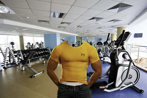 Качок в зале для тренировок - Шаблон для мужчин