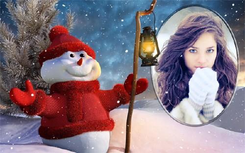 Рамка psd - Зима и снеговик