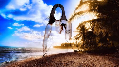 Шаблон женский - Девушка на фоне чарующего берега
