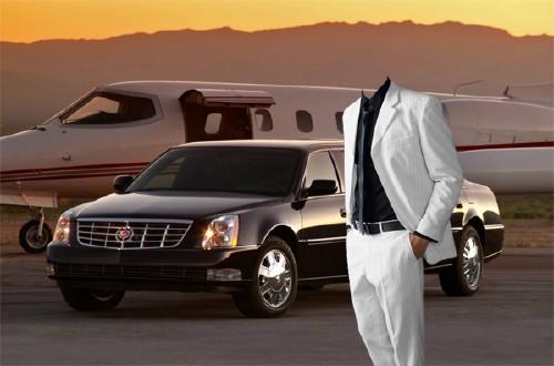 Шаблон psd мужской - Богатый бизнесмен у своего самолета