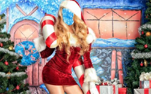 Шаблон psd - Снегурочка с подарками