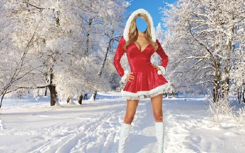 PSD шаблон для девушек - Девушка в новогоднем костюме