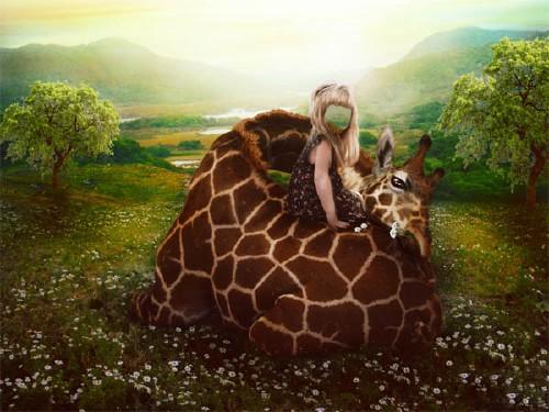 Детский шаблон - Девочка с жирафом