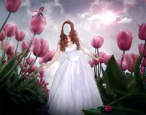 Шаблон для Photoshop - Принцесса среди тюльпанов