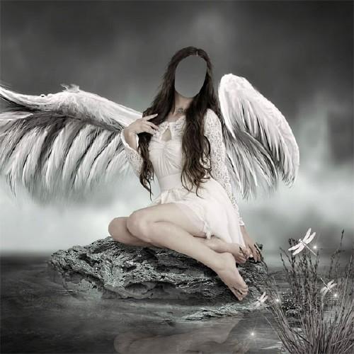 Шаблон женский - Ангел возле воды