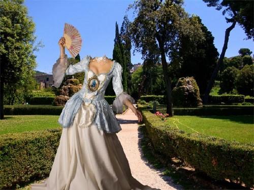 Photoshop шаблон - Барышня в старинном платье