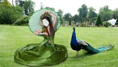 Шаблон psd женский - На лужайке в зеленом платье и с павлином