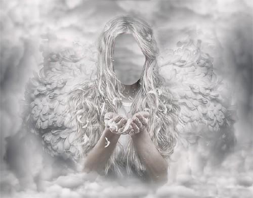 Шаблон для фотошопа - Белый ангел среди облаков