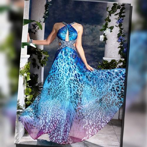 Шаблон женский - В вечернем синем платье