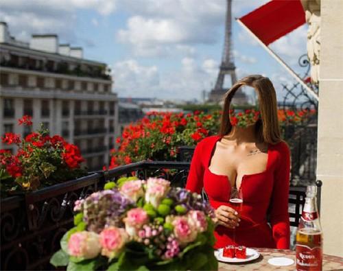 Фото шаблон - В красном платье в Париже