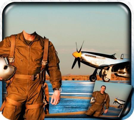 Шаблон для фотошопа - Летчик со шлемом в руках