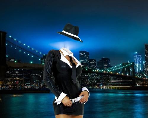 Женский шаблон - В ночном Нью-Йорке