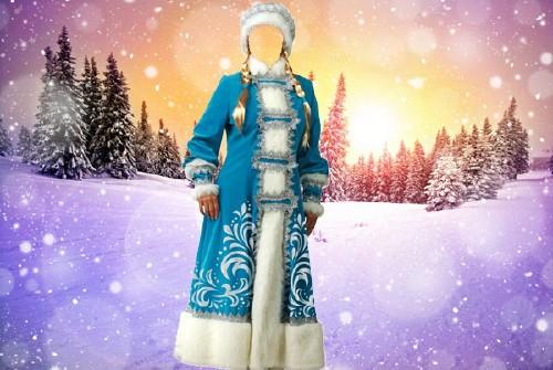 Женский шаблон - Снегурочка в синем костюме