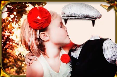 Фото шаблон - Поцелуй девочки