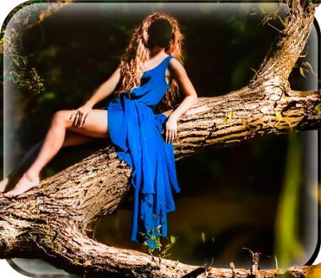 Женский шаблон для фото - Девушка в синем платье